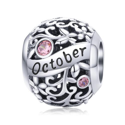 Silver Round Bead Birthstone Charm - October