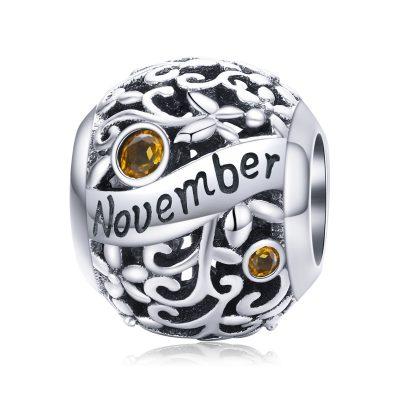 Silver Round Bead Birthstone Charm - November