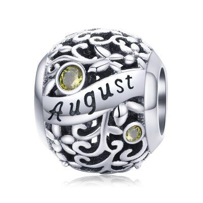 Silver Round Bead Birthstone Charm - August