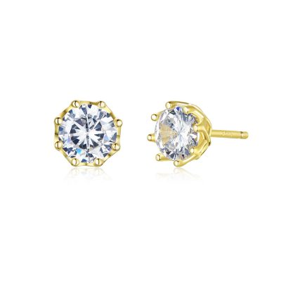 Silver Classic Cubic Solitaire Stud Earrings - Gold Plated