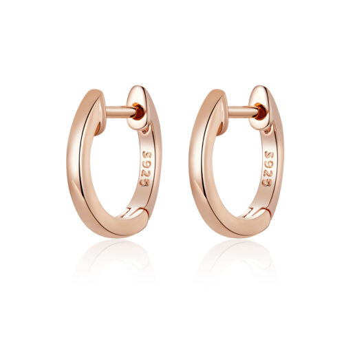 Silver Small Round Hoop Earrings - Rose Gold Plated