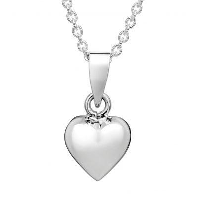 Silver Puff Heart Pendant Necklace - small