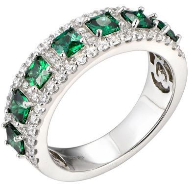 Silver Created Emerald Cubic Eternity Ring