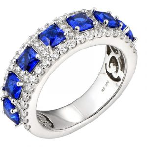 Silver Sapphire Cubic Eternity Ring