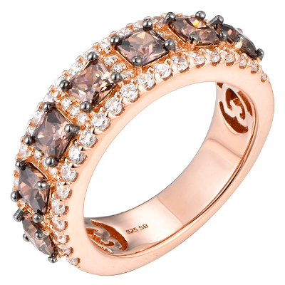 Silver Brown Coffee Cubic Eternity Ring