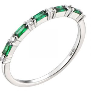 Silver Cubic Saphhire Eternity Ring