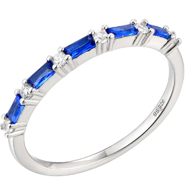 Silver Cubic Sapphire Eternity Ring