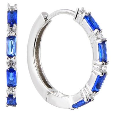 Baguette Created Sapphire hoop Earrings