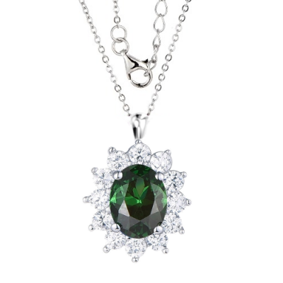 Silver Lady Diana Cubic Zirconia Cluster Necklace