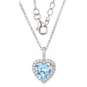 Silver 925 Heart Shape Cubic Zirconia Halo Necklace